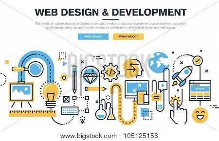 Flat line design vector illustration concept for website design and development