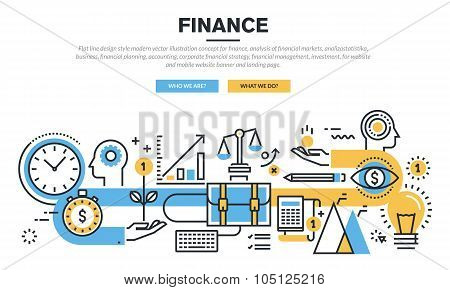 Flat line design concept for finance