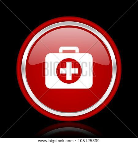 first aid red glossy cirle web icon on black bacground
