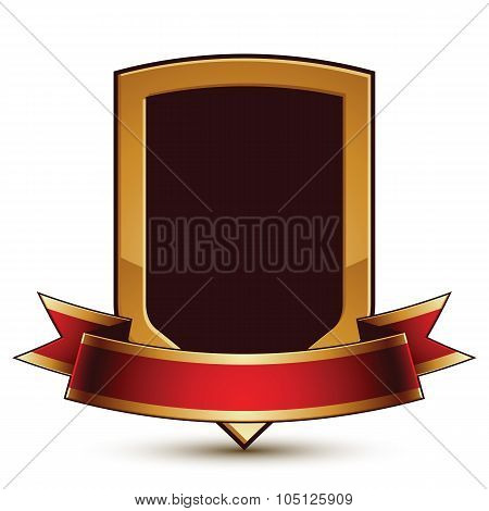Golden Vector Stylized Protection Symbol With Red Glamorous Wavy Band, Clear Eps 8 Insignia, Isolate