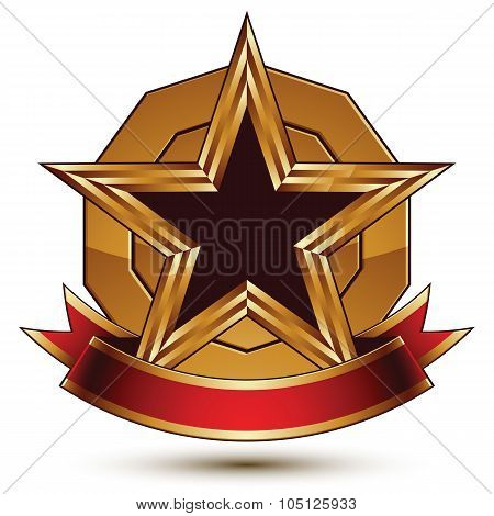 Golden Vector Stylized Round Symbol With Black Glamorous Pentagonal Star, Clear Eps 8 Insignia, Isol