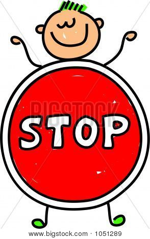 happy little caucasian boy dressed up as a stop sign maybe for a school play or an anti bullying campaign - toddler art series poster