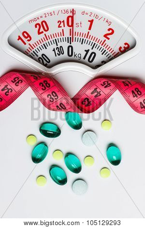 Pills With Measuring Tape On White Scales