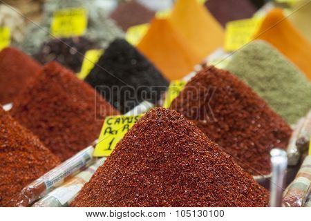 Colorful Spices On The Market Stall