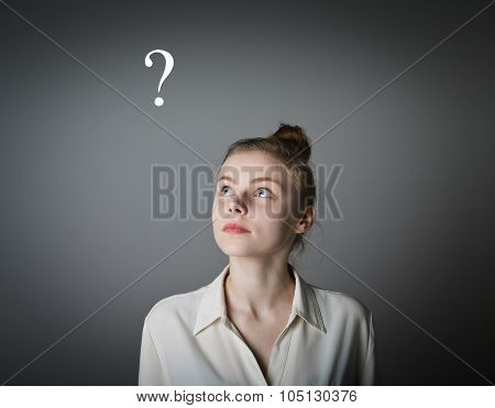 Girl In White And Question Mark
