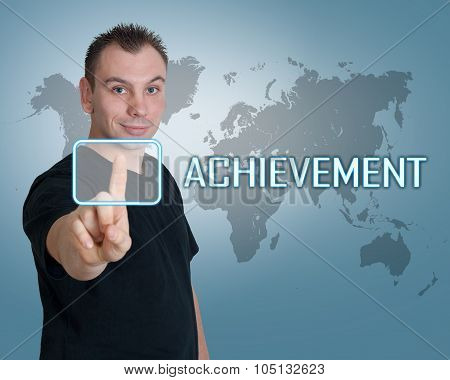 Young man press digital Achievement button on interface in front of him poster