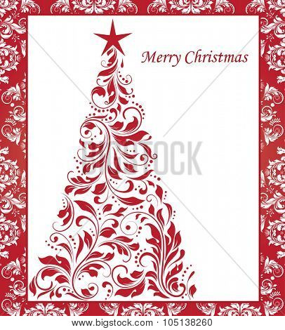 Vintage Christmas card with ornate elegant abstract floral design, red on white Christmas tree with border. Vector illustration.