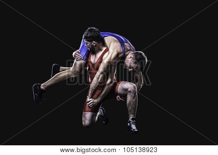 Wrestler performs a throw isolated