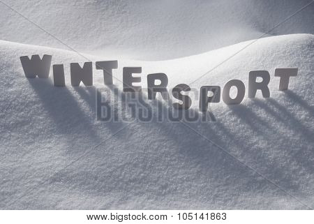 White Word Wintersport On Snow