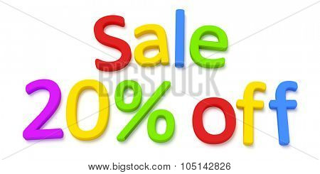 Some colorful magnetic letters building the words sale 20 percent off