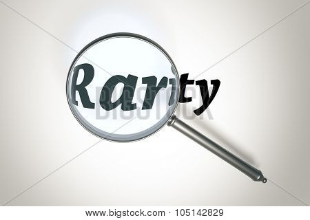 An image of a magnifying glass and the word rarity