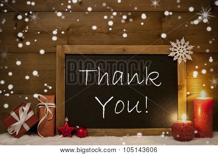 Christmas Card, Blackboard, Snowflakes, Candles, Thank You