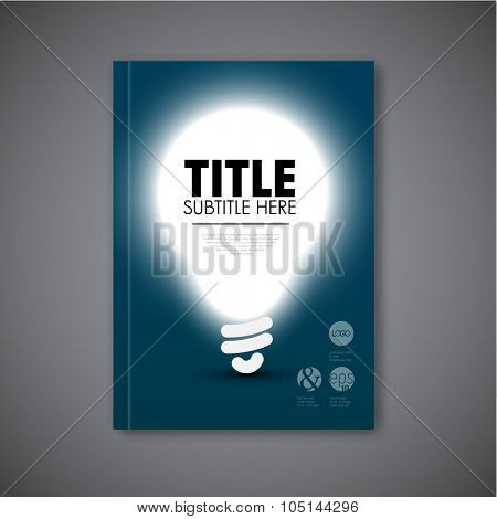 Vector book cover template with shining bulb and place for your content