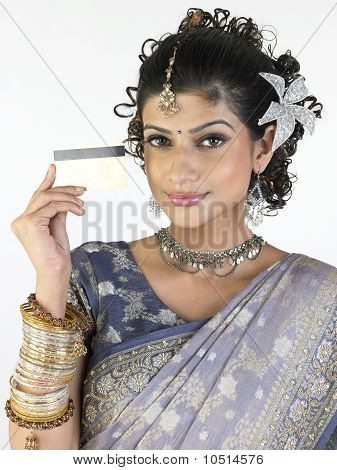 Indian girl with credit card