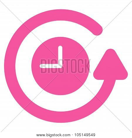 Restore Clock vector icon. Style is flat symbol, pink color, rounded angles, white background. poster