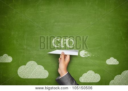 CFO concept on blackboard with paper plane