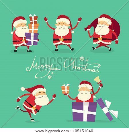Santa Claus Cartoon Character Set Gift Box Christmas Holiday Collection