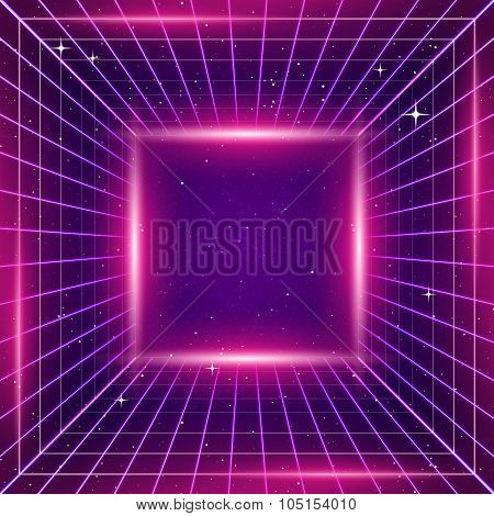 80s Retro Sci-Fi Background with pink lights poster