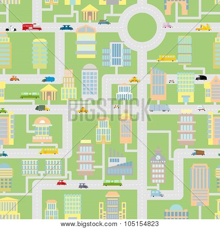 City Seamless Pattern. Modern Metropolis With Buildings, Cars And Machines. Cartoonish Background Of