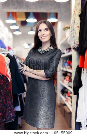 Woman Shopping Wearing Casual Navy Blue Dress