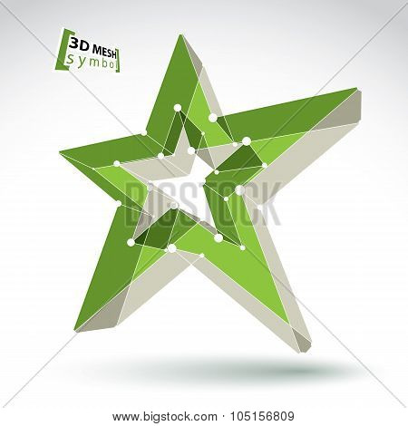 3D Mesh Green Star Sign Isolated On White Background, Colorful Elegant Lattice Superstar Icon, Dimen