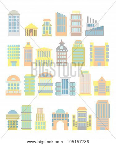 Set Business Property: Shopping Center And Hospital. Tower And Arch. Tall Buildings And Municipal Bu