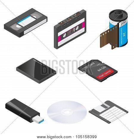 Storage Media Detailed Isometric Icon Set