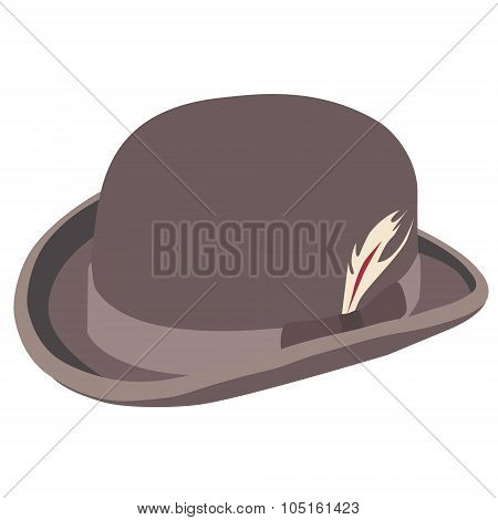 Brown Bowler Hat With Feather
