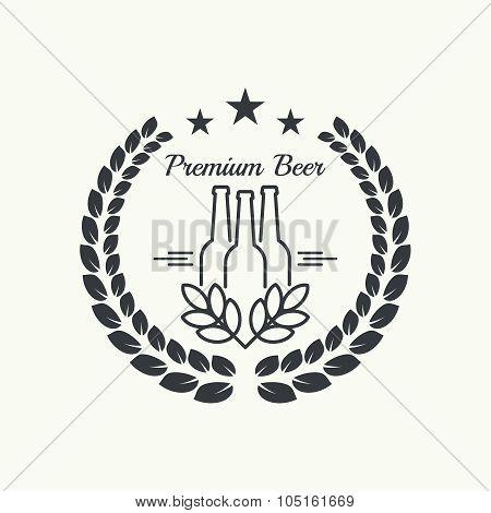 Beer brewery emblems, logo, label, design element. For pub menu, bar, restaurants, signage. minimal. Outline. Premium poster
