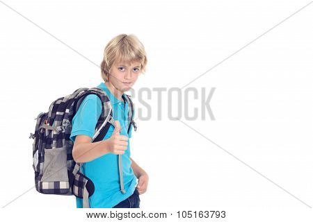 Boy With Satchel And Thumb Up In Front Of White Background