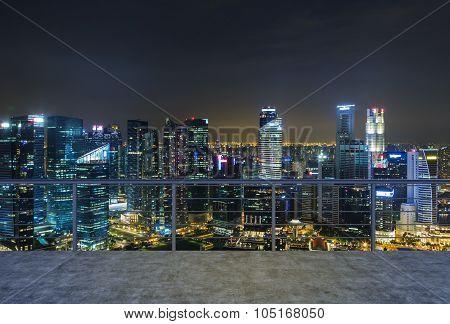 Empty Modern Terrace Area, Evening New York City View. A Concept Of Finance Luxury World. 3D Renderi