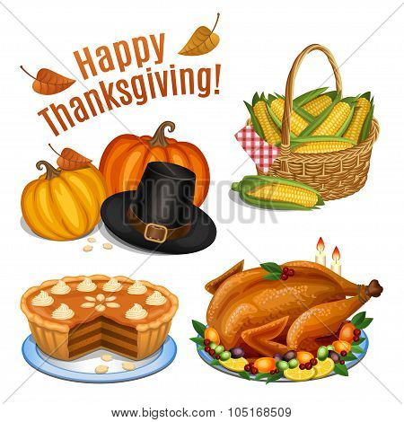 Set Of Cartoon Icons For Thanksgiving Dinner, Roast Turkey, Pumpkin, Pumpkin Pie, Pilgrim Hat, Corn.