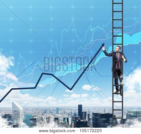 A Businessman In A Ladder Is Drawing A Line Chart As A Summation Of The Finance Tendencies. A Financ