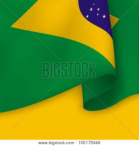 Background With Realistic Flag Of Brazil. Vector