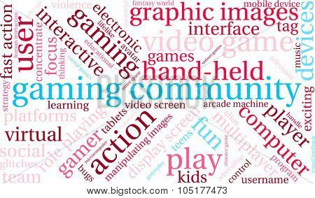 Gaming Community word cloud on a white background. poster