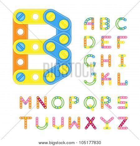 Colorful Latin Alphabet Made Of Plastic Elements Of Constructor.