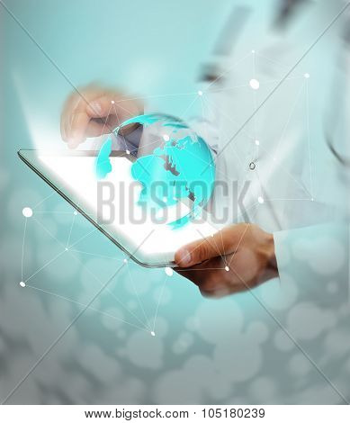 Medicine doctor working with modern computer interface.Modern medical technologies concept