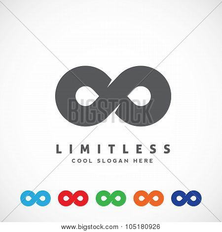 Abstract Vector Limitless Symbol, Icon or a Logo Template. Flat Style with Six Different Color Varia