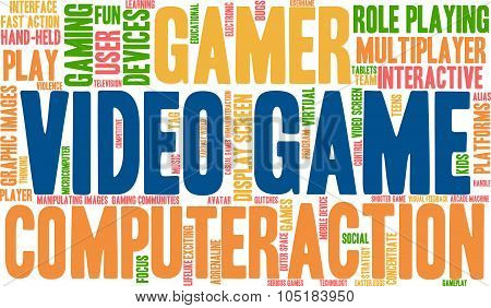 Video Game word cloud on a white background. poster