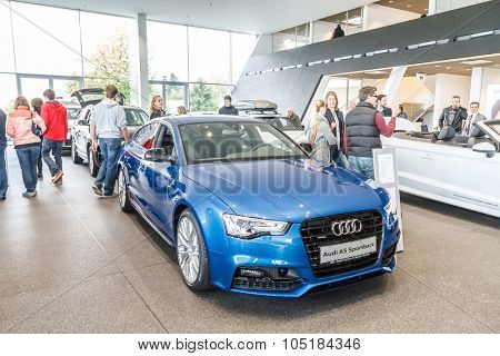 Baden-Baden, Germany - October 10, 2015: New models of the brand Audi in a dealer's showroom in Baden-Baden, Germany. Audi A5 Sportback