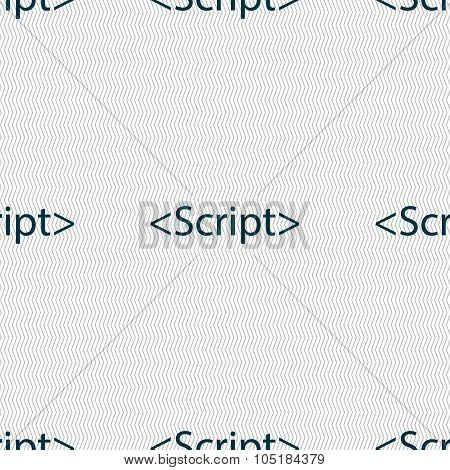 Script Sign Icon. Javascript Code Symbol. Seamless Abstract Background With Geometric Shapes. Vector