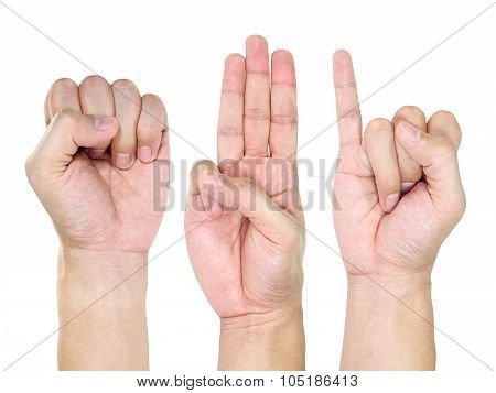 people hand sign isolated in white background