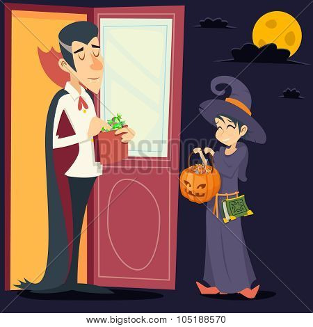 Vintage Happy Smiling Male Vampire Female Witch Halloween Symbol Lifesyle Icon on Stylish Door Backg