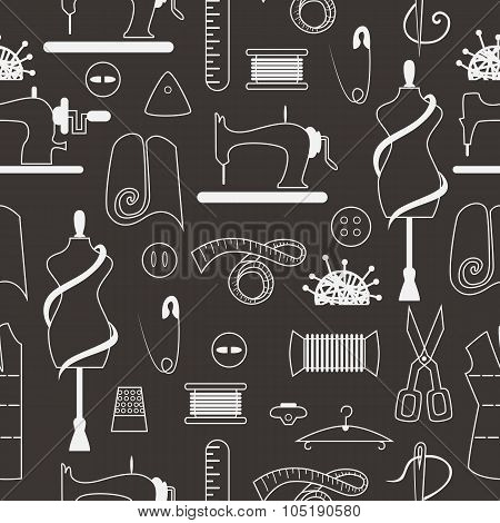 Sewing and tailor elements in seamless pattern. Sewing machine, textile, scissors, sewing and other items poster