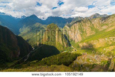 Panoramic View Of Urubamba Valley From Machu Picchu, Peru
