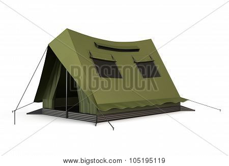 Tourist Tent Isolated On A White