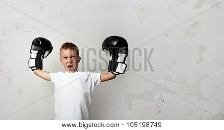 Little boy with boxing gloves celebrating his victory