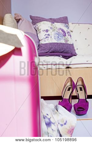 Womans Travel Accessories Shoes Suitcase Hat And Clothes