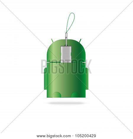 Vector USB OTG cable icon. Android. Isolated on the white poster