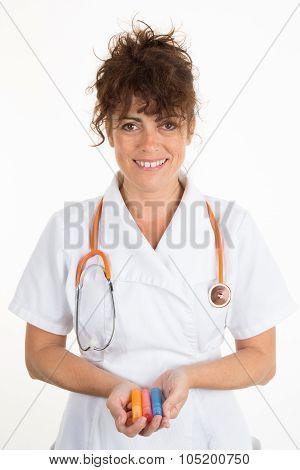 Female Doctor With Homeopathic Tube, Alternative Medecine